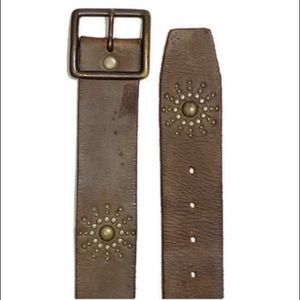 Linea Pelle LA handmade studded leather belt brown